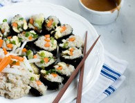 Whole Grain Veggie Sushi with almond-miso sauce{flowers on my plate}