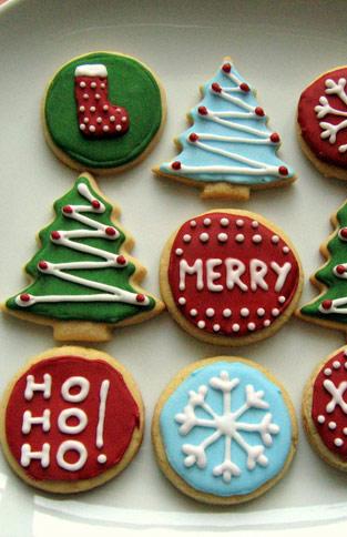 Weihnachts Cookies Kekse Gebäck Plätzchen verziert Royal Icing Geschenk