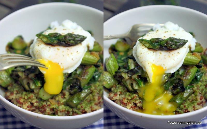 quinoa spargel pochiertes ei