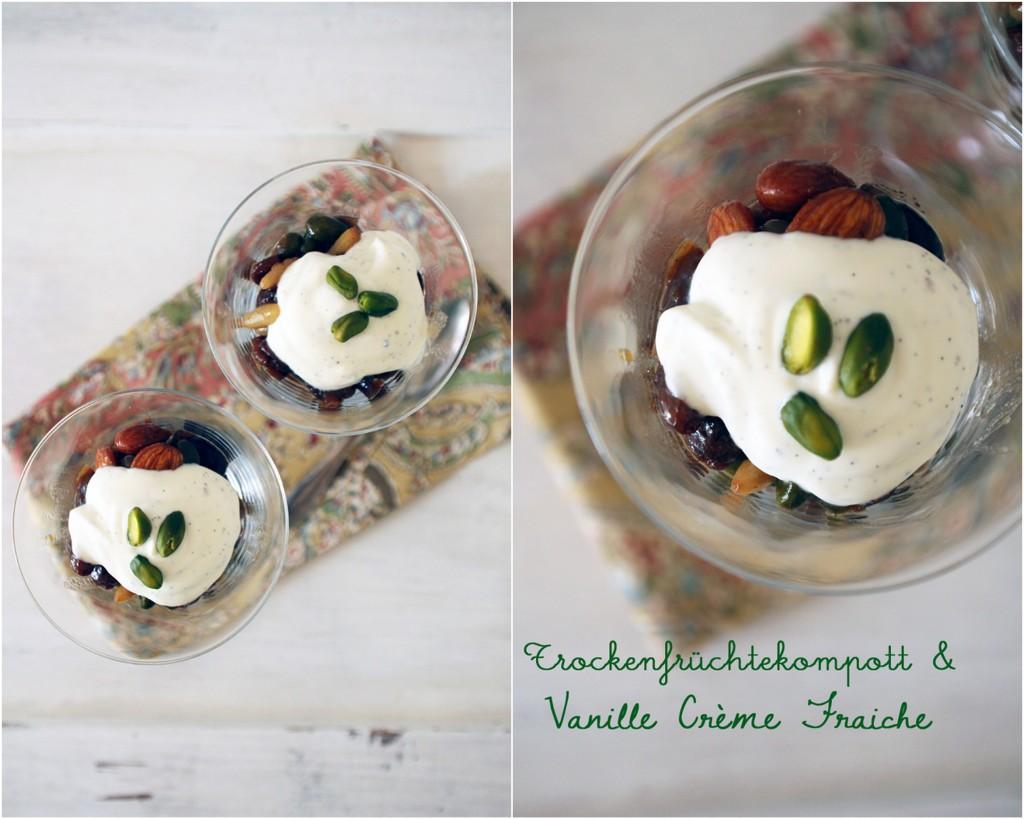 Trockenfrüchtekompott mit Vanille Crème Fraiche flowers on my plate