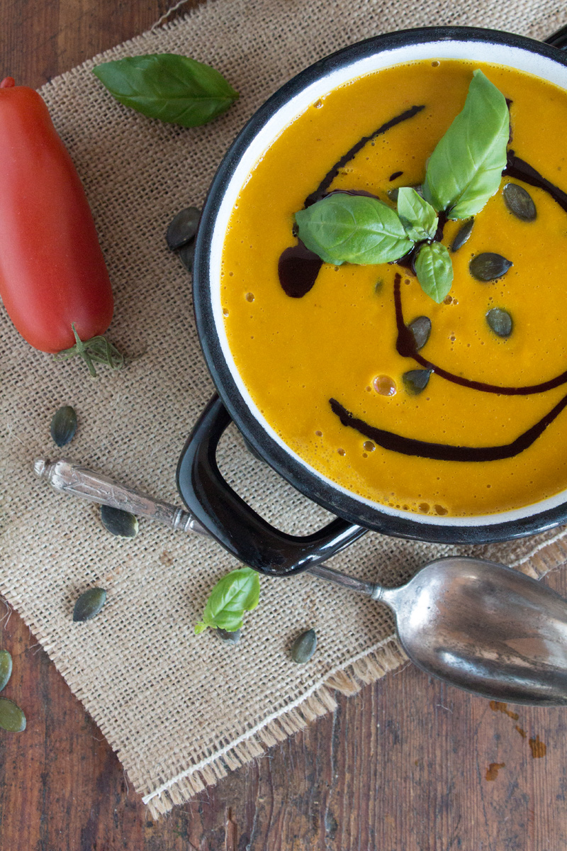 Roasted Tomato, Squash & Coconut Soup {flowers on my plate}