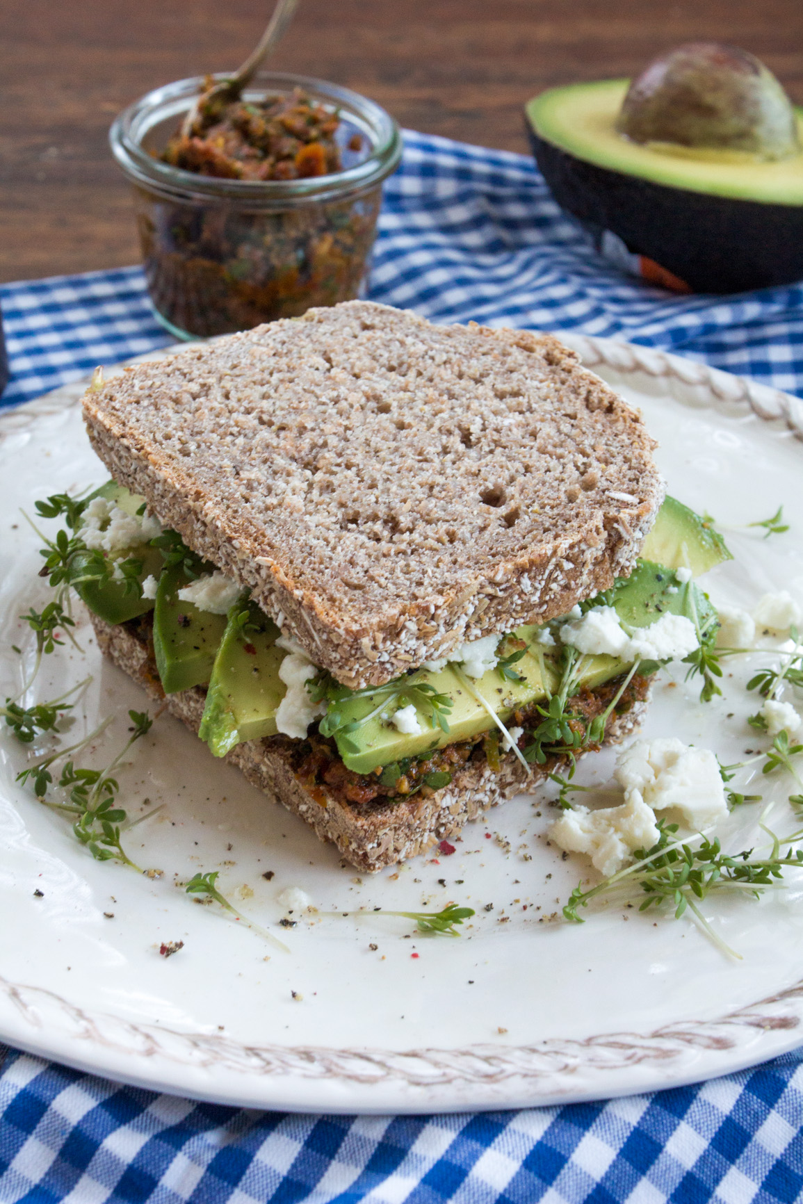 Avocado Gourmet Sandwich {flowers on my plate}