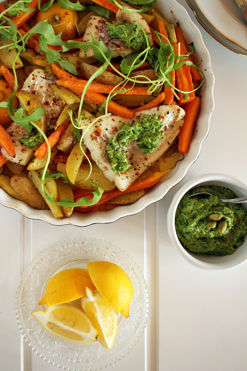 Fischfilet, Pistazienpesto & Röstkarotten flowers on my plate