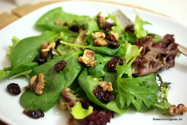 Fall Salad with Walnuts, Cranberries & Apple Cider Dressing / Herbstsalat mit Walnüssen, Cranberries & Apfeldressing