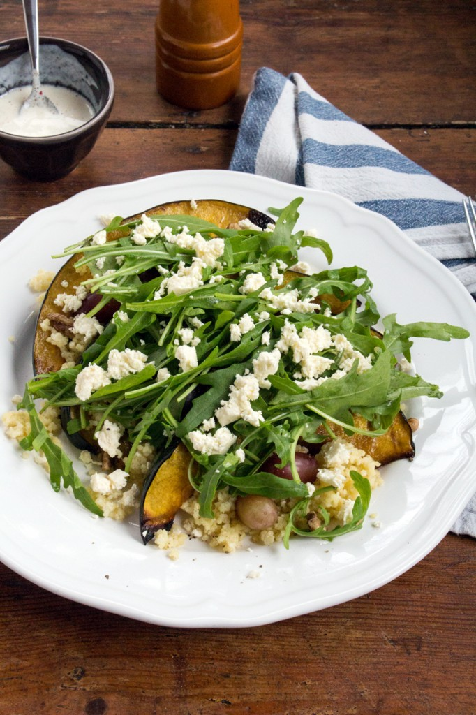 Baked Acorn Squash with Millet, Arugula & Grapes {flowers on my plate}