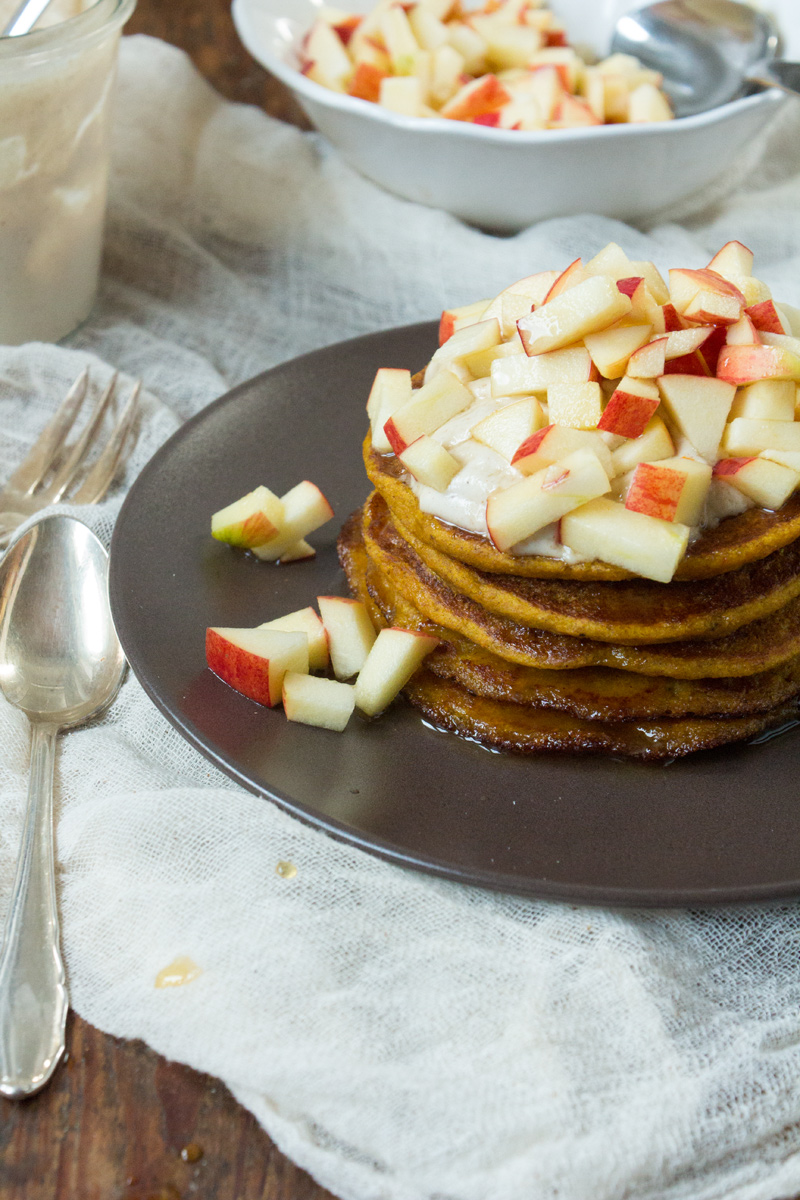Apple & Pumpkin Spiced Pancakes {flowers on my plate}