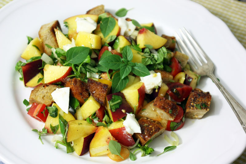 Peach Panzanella {flowers on my plate}