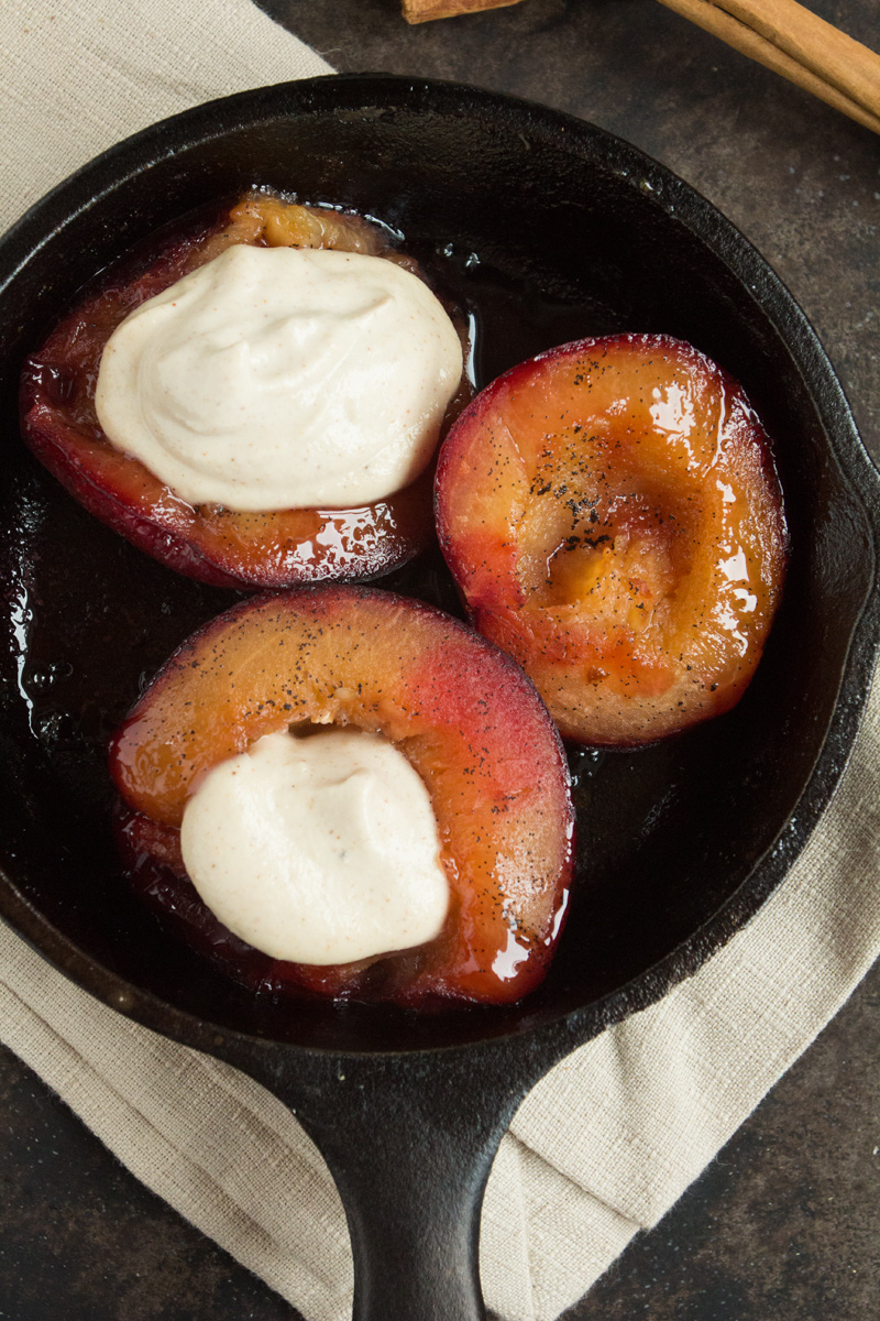Baked Vanilla Plums with Cashew Cinnamon Cream {flowers on my plate}