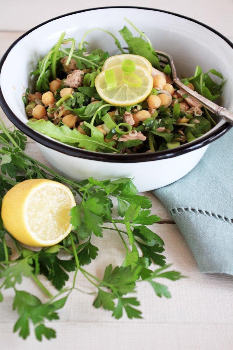 Italian Chickpea & Tuna Salad {flowers on my plate}