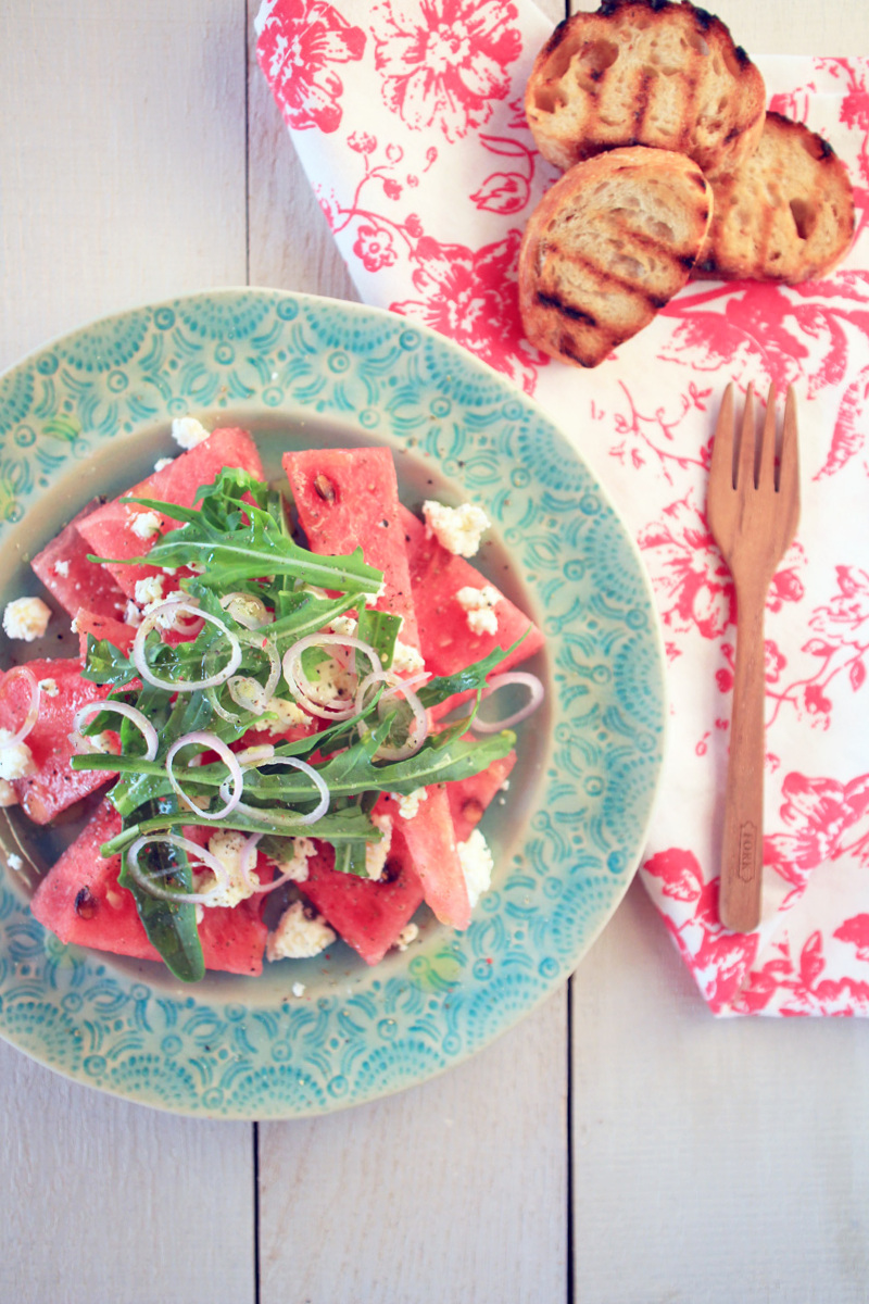 Wassermelonen & Feta Salat {flowers on my plate}