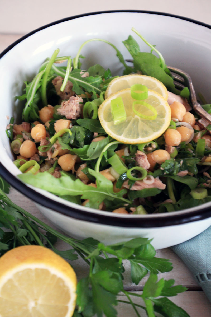 Italian Chickpea & Tuna Salad {flowers on my plate}